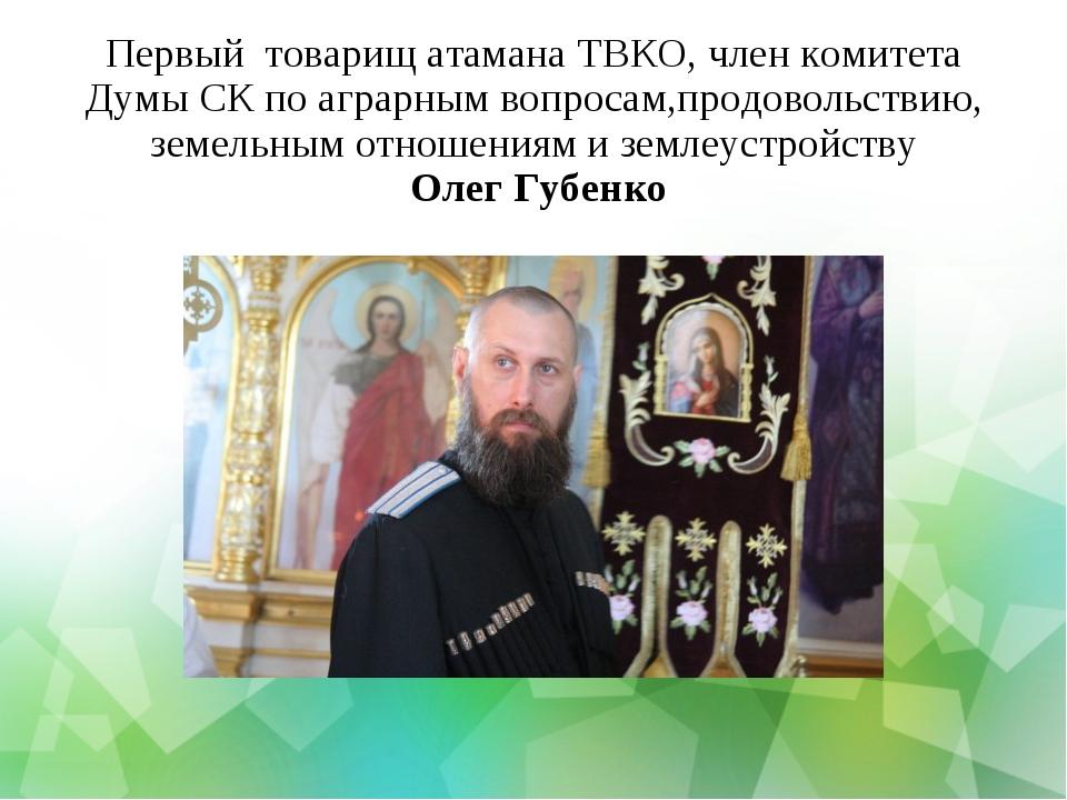 Первый товарищ атамана ТВКО, член комитета Думы СК по аграрным вопросам,продо...