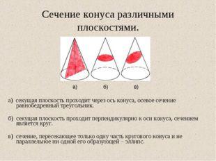 Сечение конуса различными плоскостями. а) секущая плоскость проходит через ос