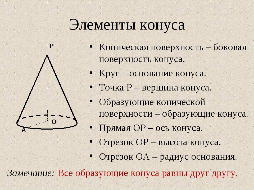 Элементы конуса Замечание: Все образующие конуса равны друг другу. Коническая...