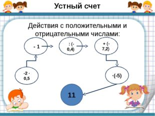 Устный счет Действия с положительными и отрицательными числами: 11 -2 ∙ 0,5 -