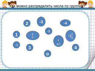 Как можно распределить числа по группам? о 1 -1 2 3 -3 -4 -2 -о,7 4