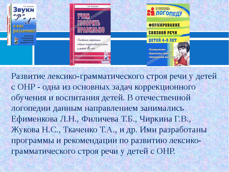 Развитие лексико-грамматического строя речи у детей с ОНР - одна из основных...