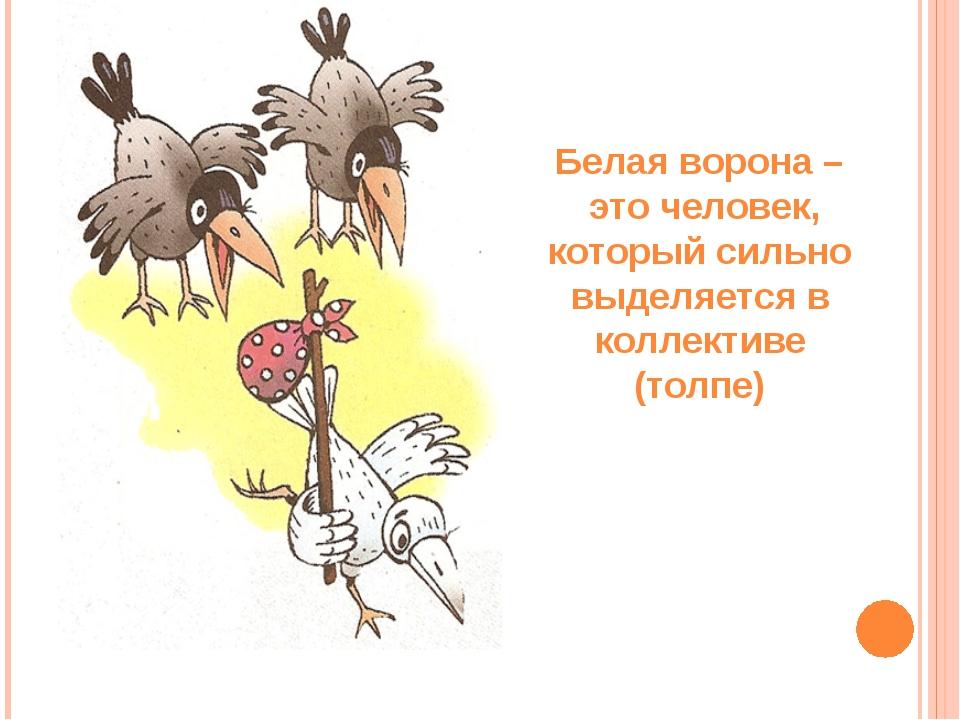 Белая ворона – это человек, который сильно выделяется в коллективе (толпе)