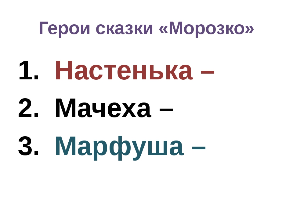 Герои сказки «Морозко» Настенька – Мачеха – Марфуша –
