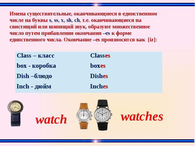watches watch Имена существительные, оканчивающиеся в единственном числе на б...