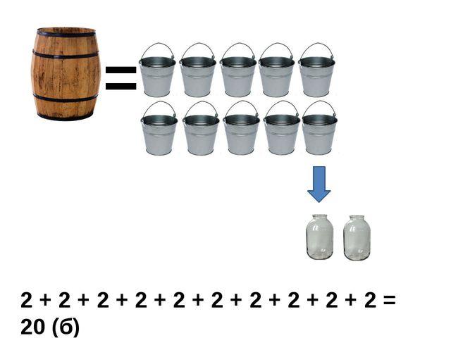 = 2 + 2 + 2 + 2 + 2 + 2 + 2 + 2 + 2 + 2 = 20 (б)