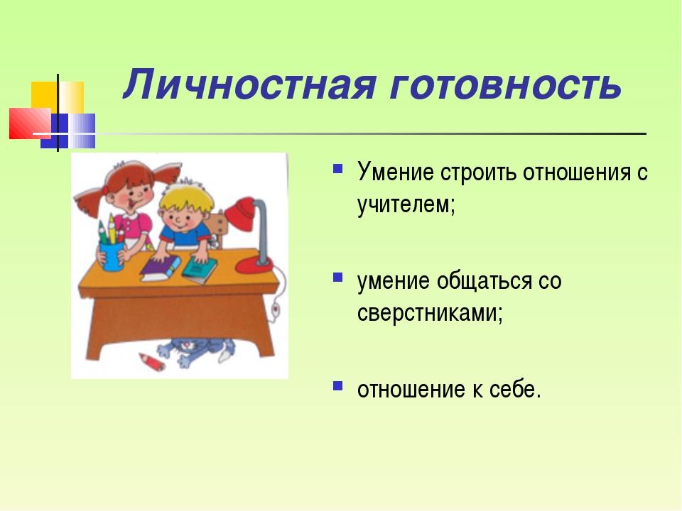 Личностная готовность Умение строить отношения с учителем; умение общаться со...