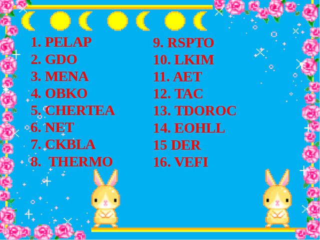 1. PELAP 2. GDO 3. MENA 4. OBKO 5. CHERTEA 6. NET 7. CKBLA 8. THERMO 9. RSPTO...