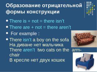 Образование отрицательной формы конструкции There is + not = there isn't Ther
