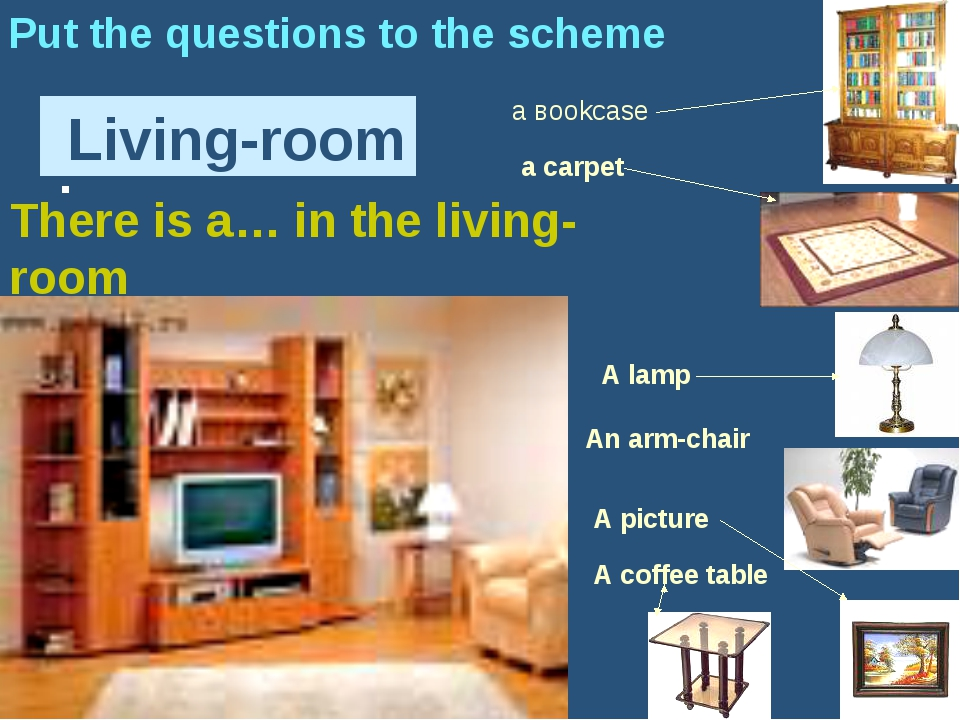 : Living-room Put the questions to the scheme а вookcase A picture a carpet A...