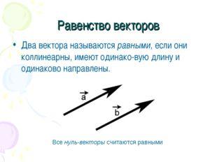 Равенство векторов Два вектора называются равными, если они коллинеарны, имею