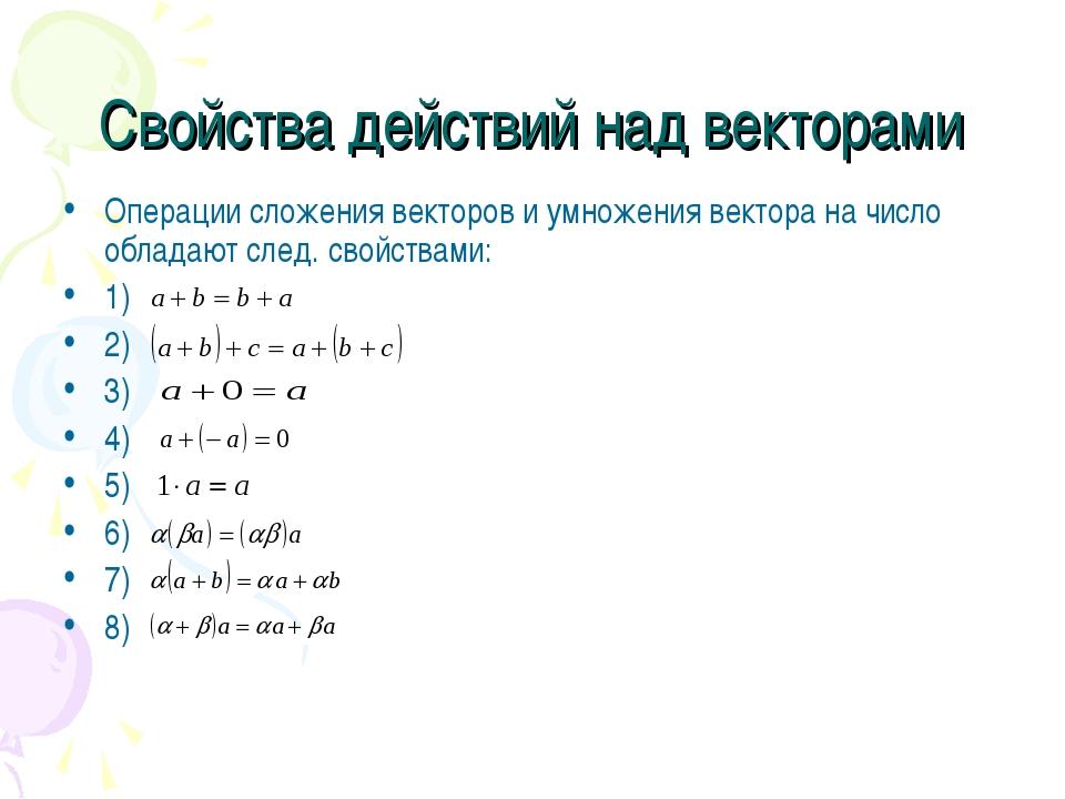 Свойства действий над векторами Операции сложения векторов и умножения вектор...