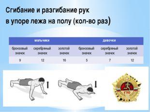 Сгибание и разгибание рук в упоре лежа на полу (кол-во раз) мальчики девочки