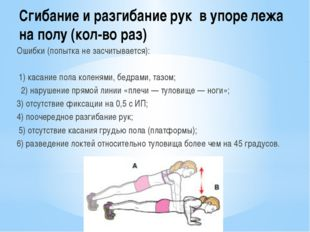 Сгибание и разгибание рук в упоре лежа на полу (кол-во раз) Ошибки (попытка н