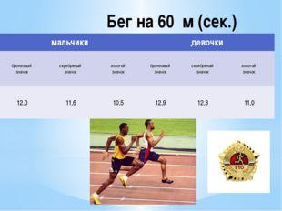 Бег на 60 м (сек.) мальчики девочки бронзовый значок серебряный значок золото