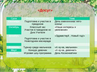 «Досуг» Срок Форма проведения Тема Сентябрь Подготовка и участие в празднике