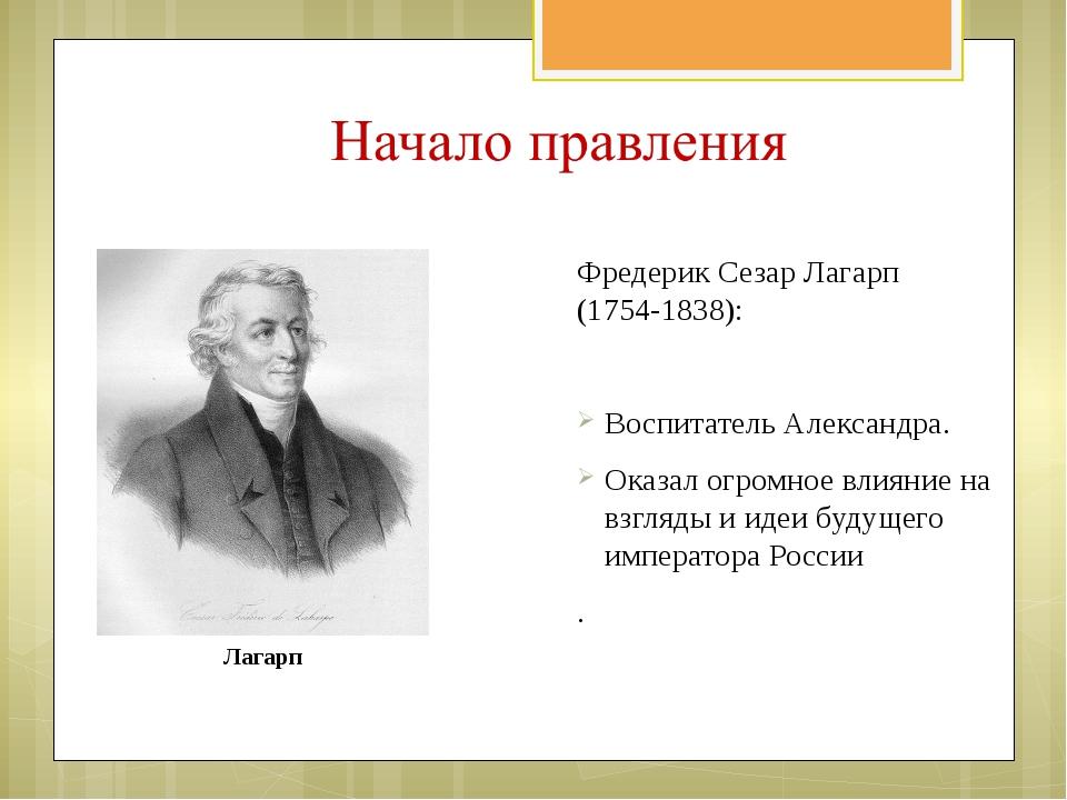 Фредерик Сезар Лагарп (1754-1838): Воспитатель Александра. Оказал огромное вл...