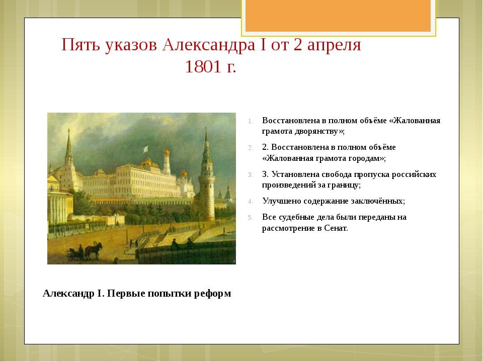 Восстановлена в полном объёме «Жалованная грамота дворянству»; 2. Восстановле...