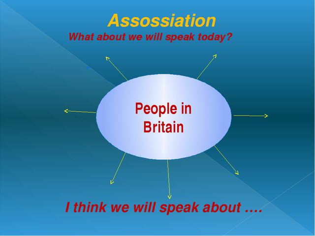 Assossiation What about we will speak today? People in Britain I think we wi...