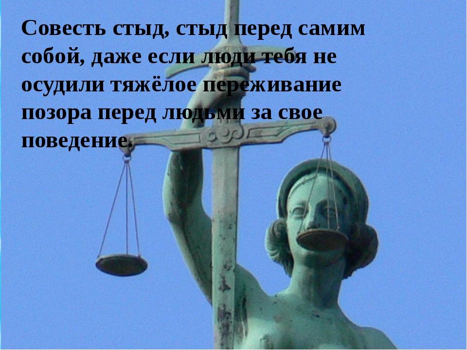 Совесть стыд стыд перед самим собой, даже если люди тебя не осудили тяжёлое п...