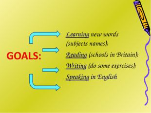 Learning new words (subjects names); Reading (schools in Britain); Writing (d