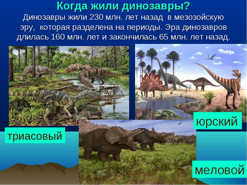 Когда жили динозавры? Динозавры жили 230 млн. лет назад в мезозойскую эру, ко...