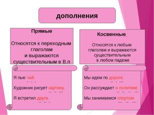 дополнения Прямые Относятся к переходным глаголам и выражаются существительны