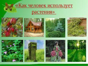 «Как человек использует растения»