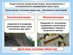 Геологическое летоисчисление (геохронология) Относительный возраст Абсолютны