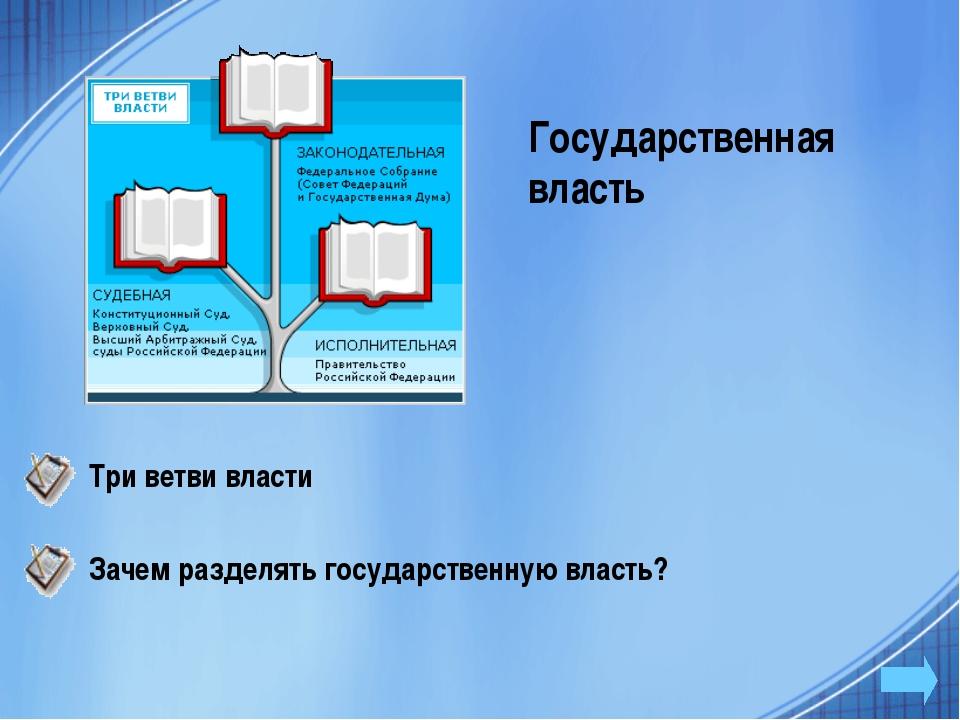 Государственная власть Три ветви власти Зачем разделять государственную власть?