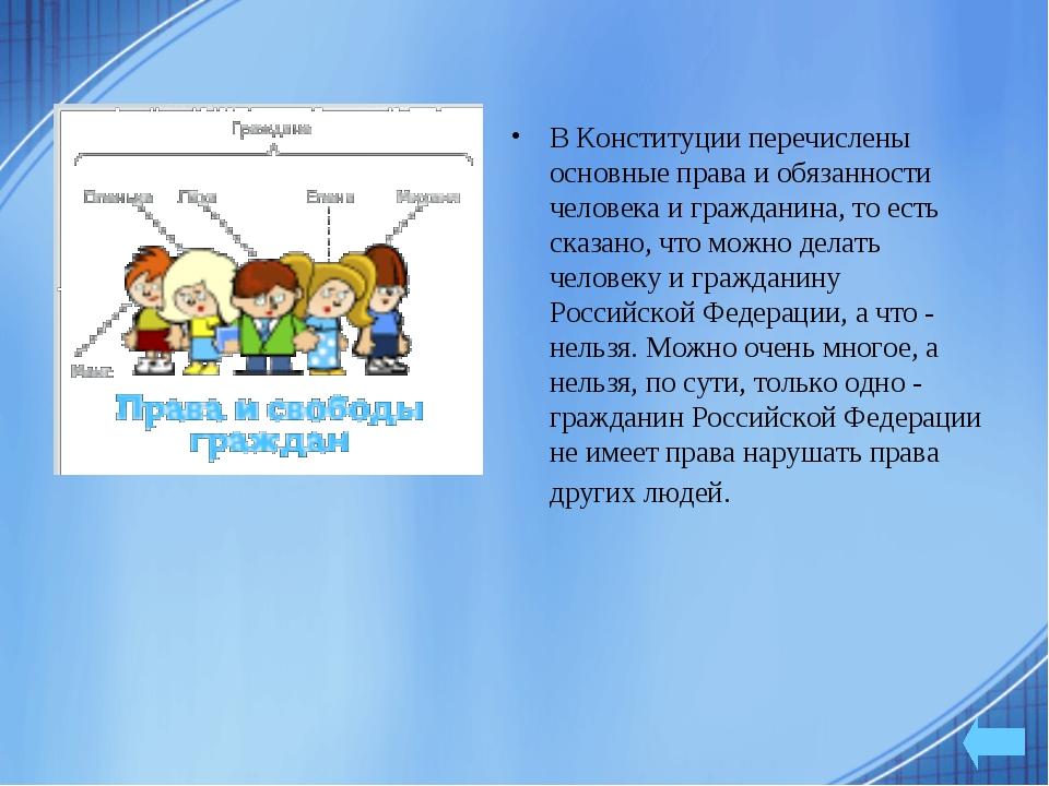 В Конституции перечислены основные права и обязанности человека и гражданина,...