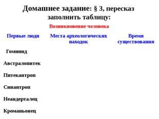 Возникновение человека Домашнее задание: § 3, пересказ заполнить таблицу: Пер