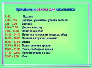 7. 00. Подъем 7.00 – 7.15 Зарядка, умывание, уборка постели 7.15 – 7.30 Завтр