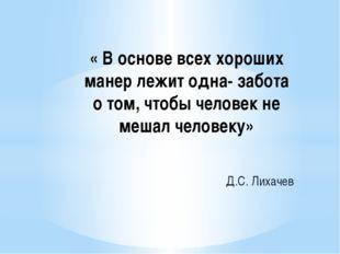 « В основе всех хороших манер лежит одна- забота о том, чтобы человек не меша