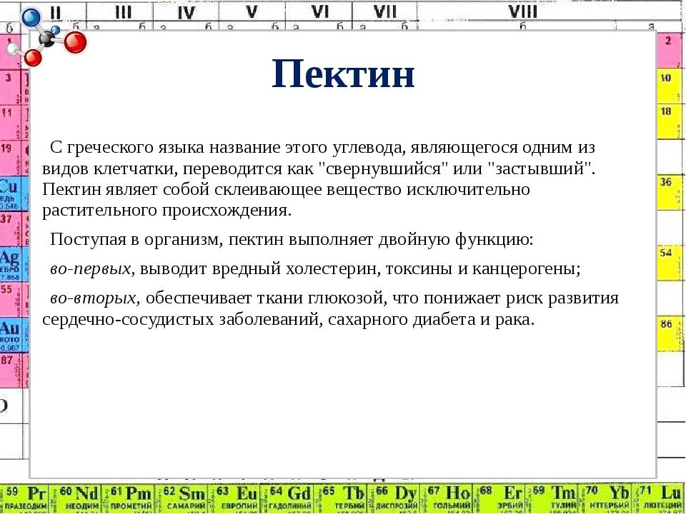 Пектин С греческого языка название этого углевода, являющегося одним из видов...