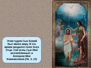 Этим чудом Сын Божий был явлен миру. В это время раздался голос Бога Отца: С