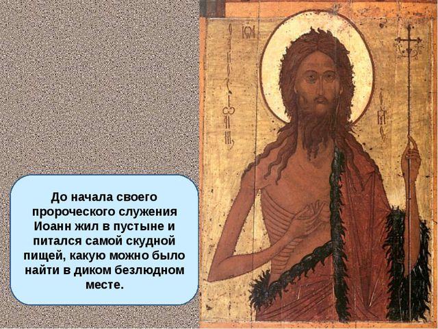 До начала своего пророческого служения Иоанн жил в пустыне и питался самой с...