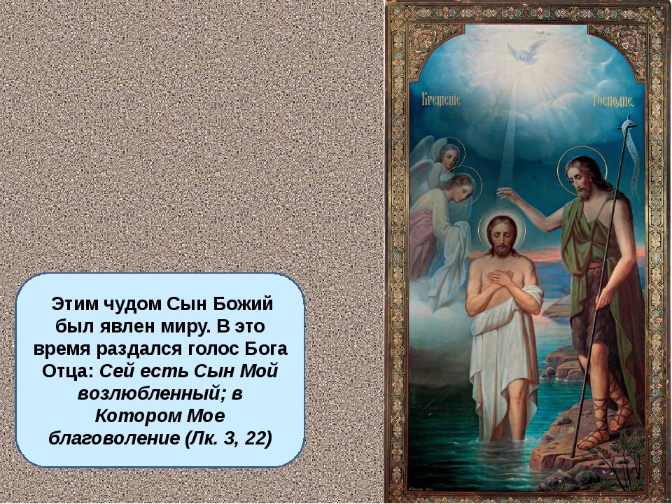 Этим чудом Сын Божий был явлен миру. В это время раздался голос Бога Отца: С...