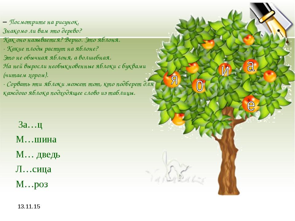 * – Посмотрите на рисунок. Знакомо ли вам это дерево? Как оно называется? Вер...