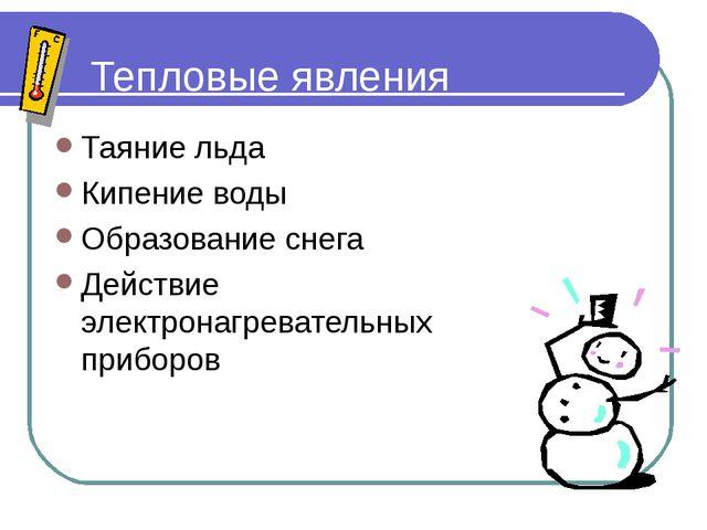Тепловые явления Таяние льда Кипение воды Образование снега Действие электрон...