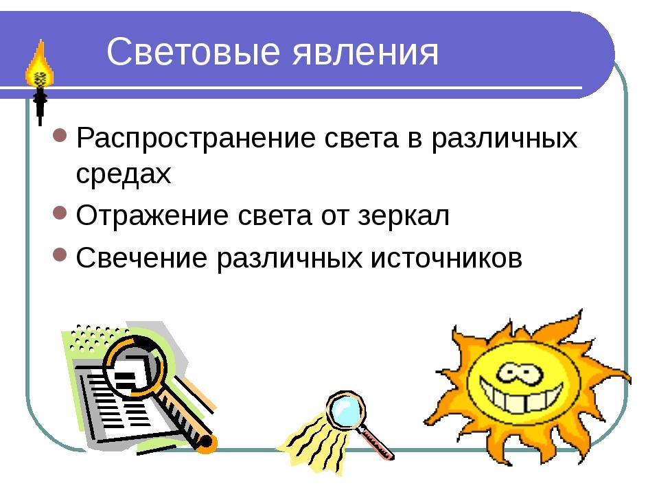 Световые явления Распространение света в различных средах Отражение света от...