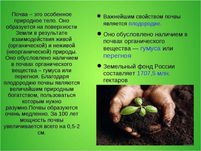 Почва – это особенное природное тело. Оно образуется на поверхности Земли в р...