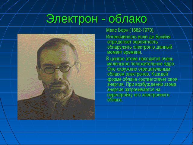 Электрон - облако Макс Борн (1882-1970). Интенсивность волн де Бройля определ...