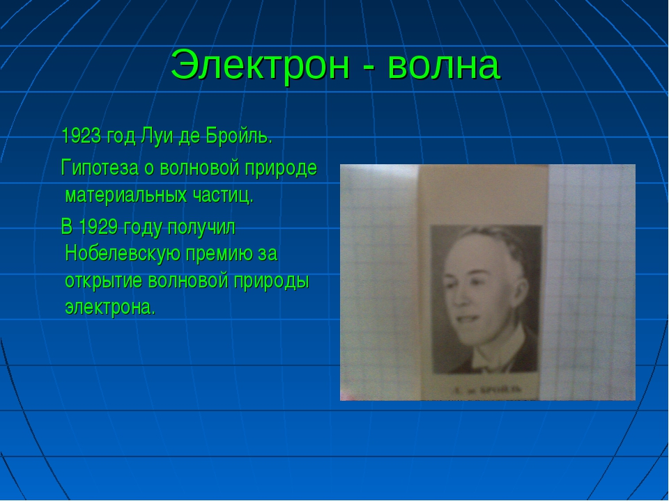 Электрон - волна 1923 год Луи де Бройль. Гипотеза о волновой природе материал...