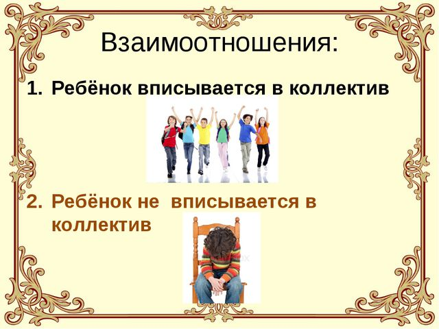 Взаимоотношения: Ребёнок вписывается в коллектив Ребёнок не вписывается в кол...