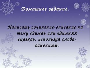 Домашнее задание. Написать сочинение-описание на тему «Зима» или «Зимняя сказ