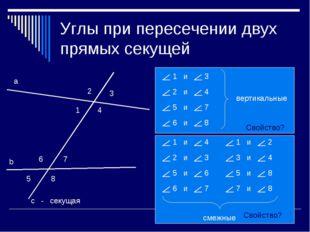 Углы при пересечении двух прямых секущей 1 2 3 4 5 6 7 8 - секущая Свойство?