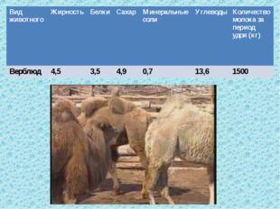 Вид животногоЖирностьБелкиСахарМинеральные солиУглеводыКоличество молок