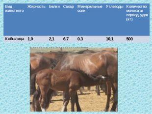 , Вид животногоЖирностьБелкиСахарМинеральные солиУглеводыКоличество мол