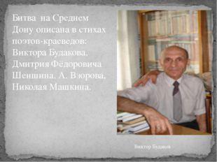 Битва на Среднем Дону описана в стихах поэтов-краеведов: Виктора Будакова, Дм